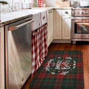 Other - 🆕 Christmas Green Red Plaid Cushioned Floor Mat